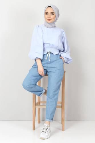 Beli Lastikli Kot Pantolon TSD1620 Açık Mavi - Thumbnail