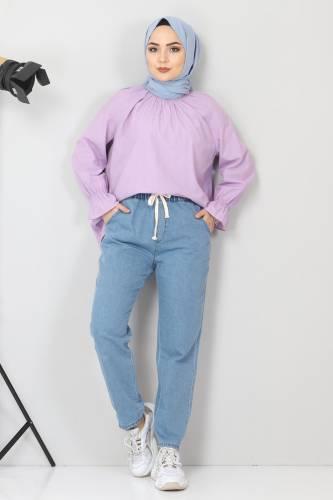 Tesettür Dünyası - Beli Lastikli Kot Pantolon TSD21003 Açık Mavi