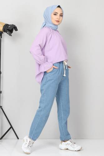 Tesettür Dünyası - Beli Lastikli Kot Pantolon TSD21003 Açık Mavi (1)
