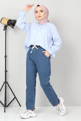 Tesettür Dünyası - Beli Lastikli Kot Pantolon TSD21003 Koyu Mavi (1)