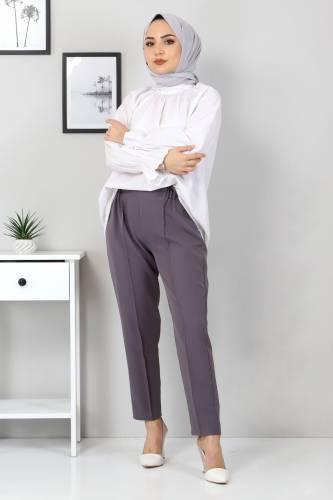 Tesettür Dünyası - Beli Lastikli Pantolon TSD9905 Antrasit