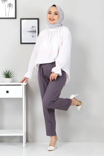 Tesettür Dünyası - Beli Lastikli Pantolon TSD9905 Antrasit (1)