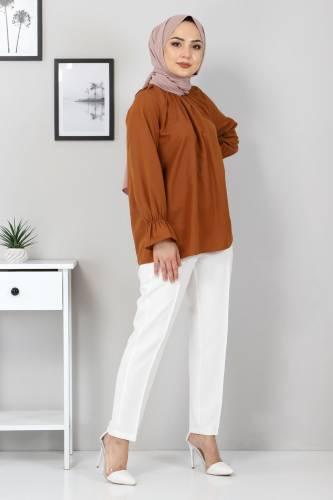 Tesettür Dünyası - Elastic Waist Trousers TSD9905 Ecru