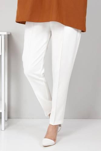 Tesettür Dünyası - Elastic Waist Trousers TSD9905 Ecru (1)