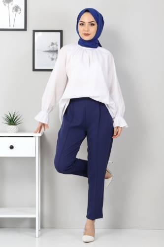 Tesettür Dünyası - Elastic Waist Trousers TSD9905 Indigo