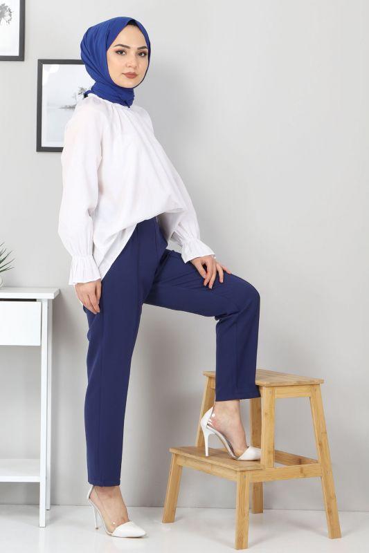 Beli Lastikli Pantolon TSD9905 İndigo