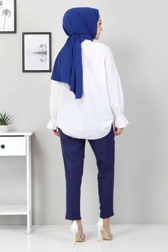 Beli Lastikli Pantolon TSD9905 İndigo - Thumbnail