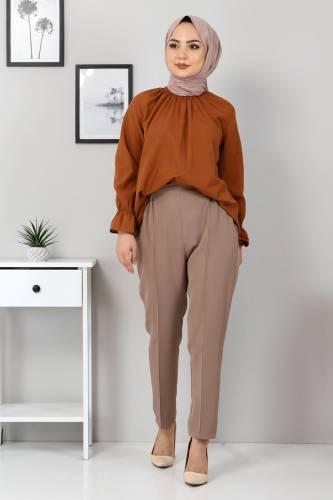 Tesettür Dünyası - Elastic Waist Trousers TSD9905 Dark Beige