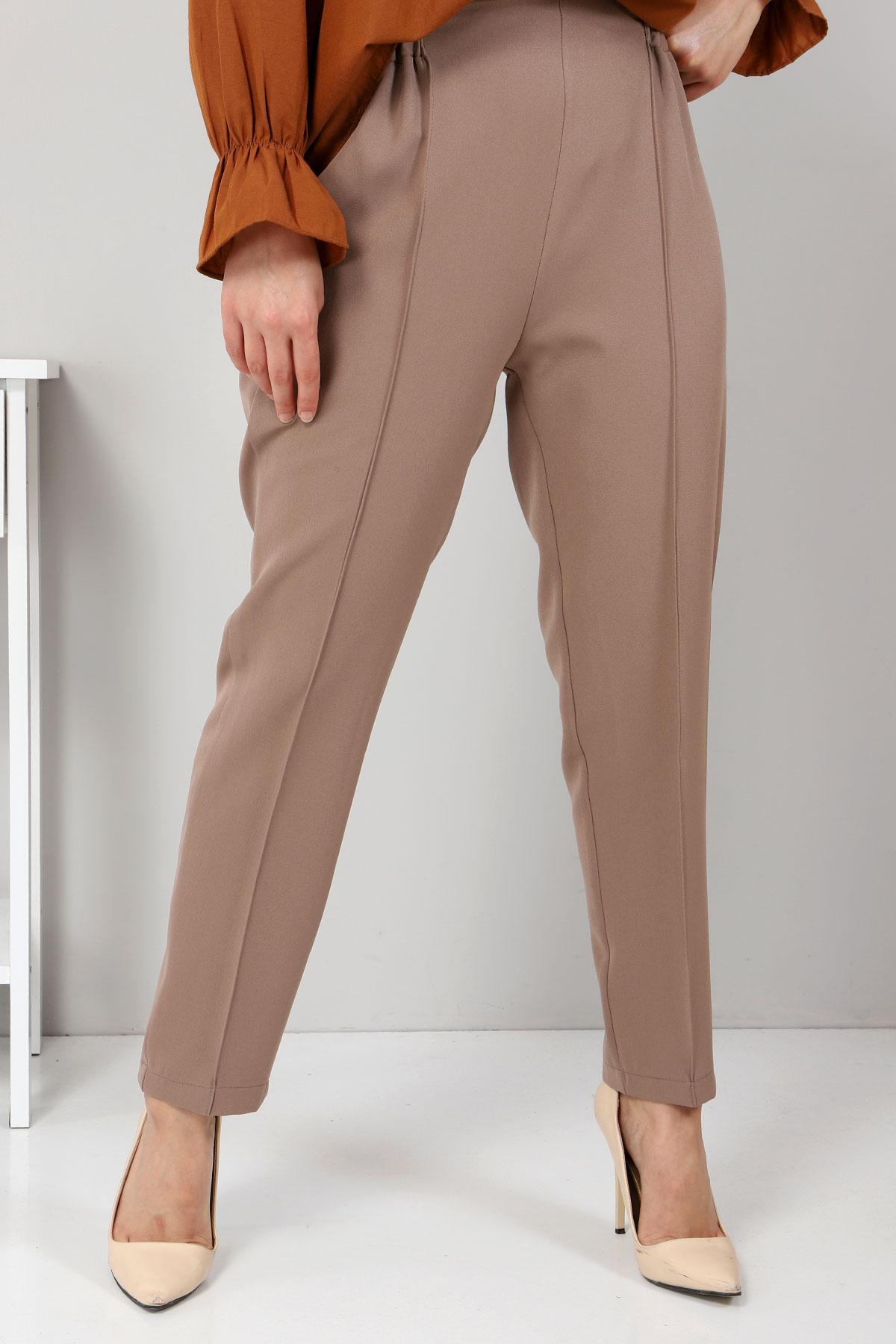 Beli Lastikli Pantolon TSD9905 Vizon