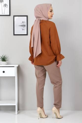 Beli Lastikli Pantolon TSD9905 Vizon - Thumbnail