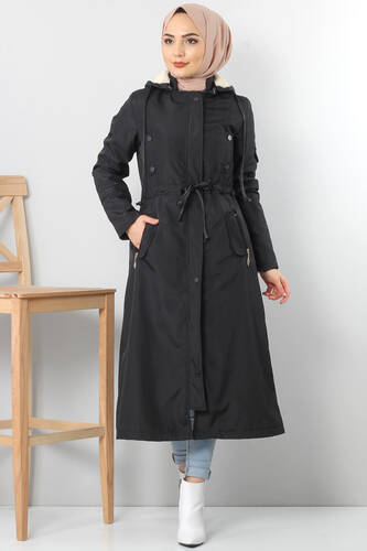 Belt Long fur Coat TSD2117 black - Thumbnail
