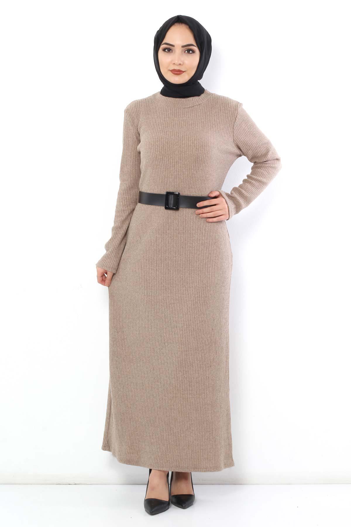 Belted Knitwear Dress TSD1742 Beige
