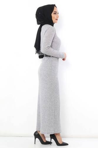 Belted Knitwear Dress TSD1742 Gray - Thumbnail