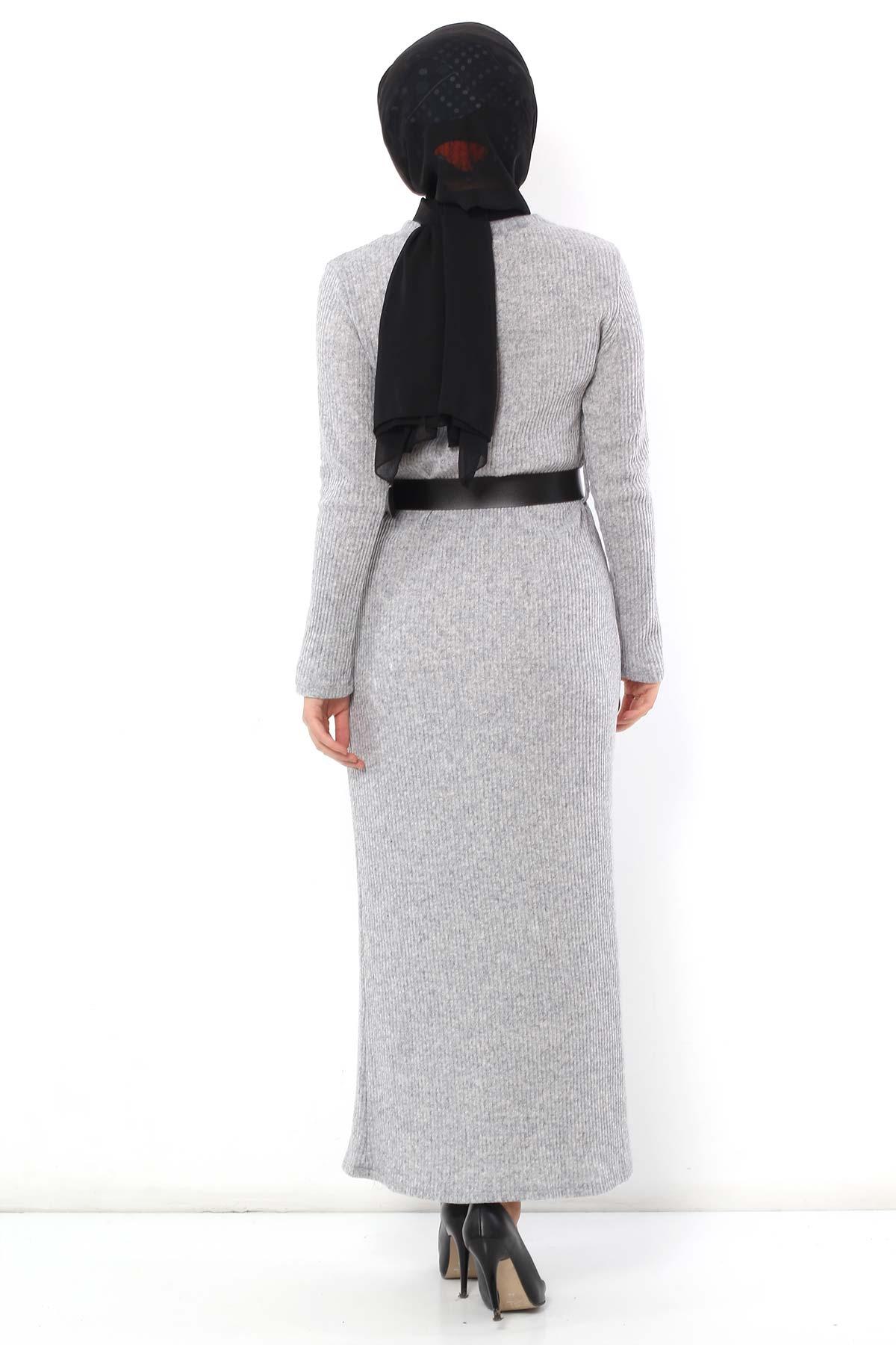 Belted Knitwear Dress TSD1742 Gray