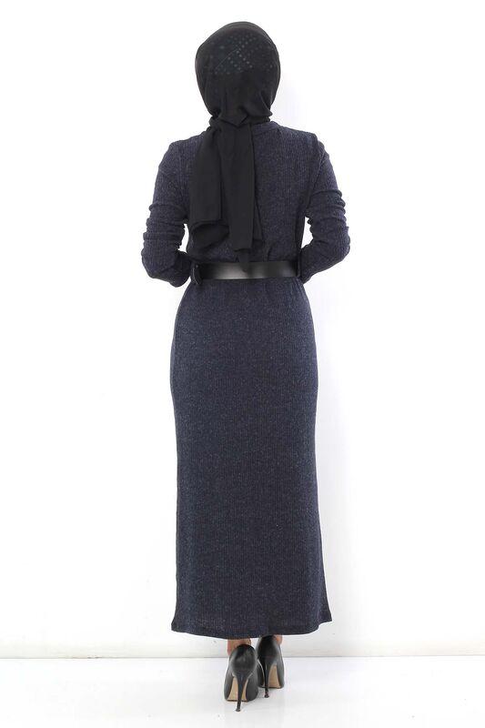 Belted Knitwear Dress TSD1742 Navy Blue