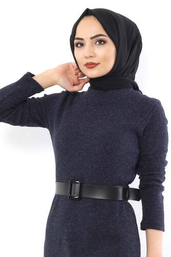 Belted Knitwear Dress TSD1742 Navy Blue - Thumbnail