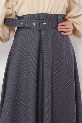 Belted Plaid Patterned Mevlana Skirt TSD0354 Anthracite - Thumbnail