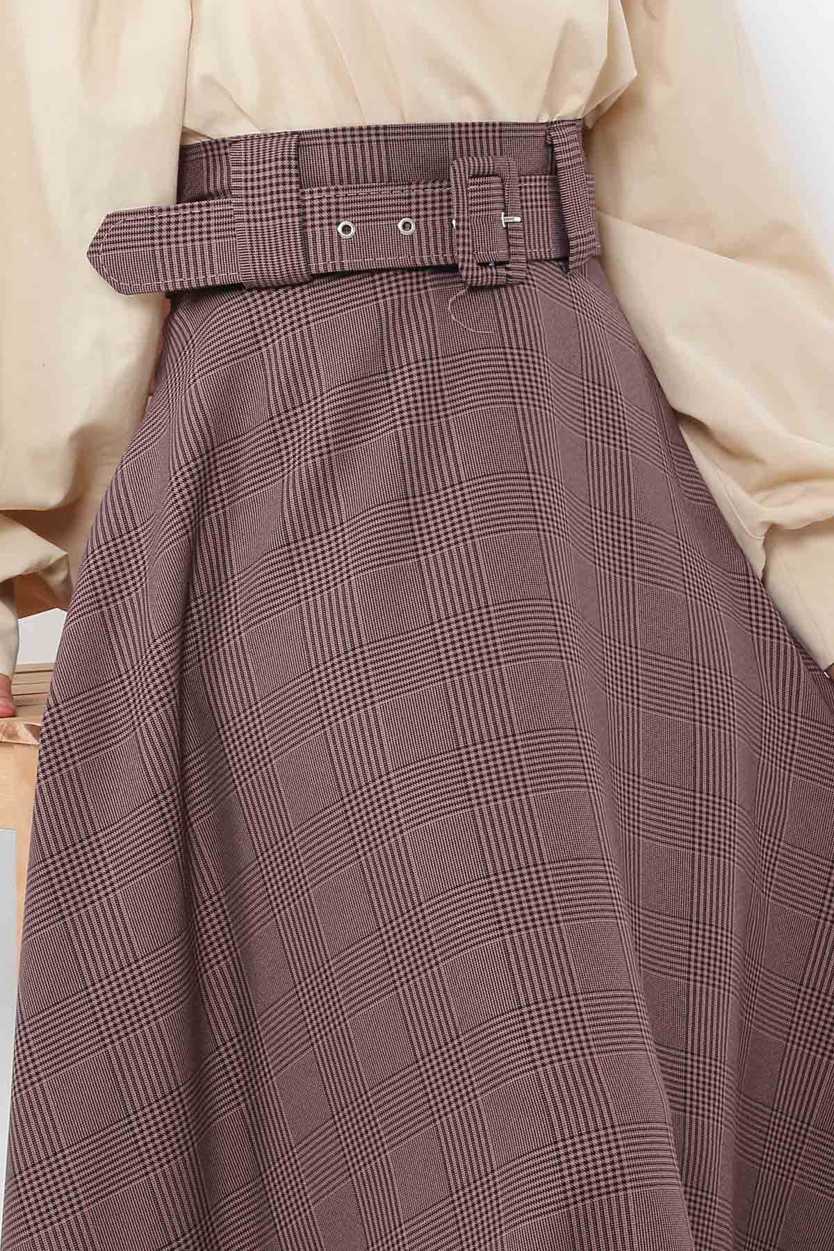 Belted Plaid Patterned Mevlana Skirt TSD0354 Dried Rose