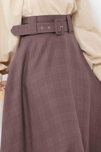 Belted Plaid Patterned Mevlana Skirt TSD0354 Dried Rose - Thumbnail