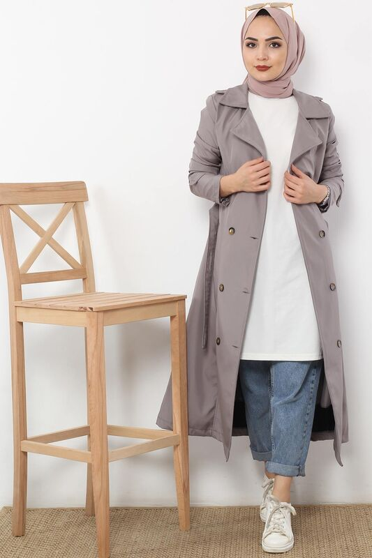 Belted Trench Coat TSD2115 Gray