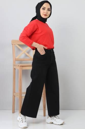 Bilek Boy Bol Paça Kot Pantolon TSD22006 Siyah - Thumbnail