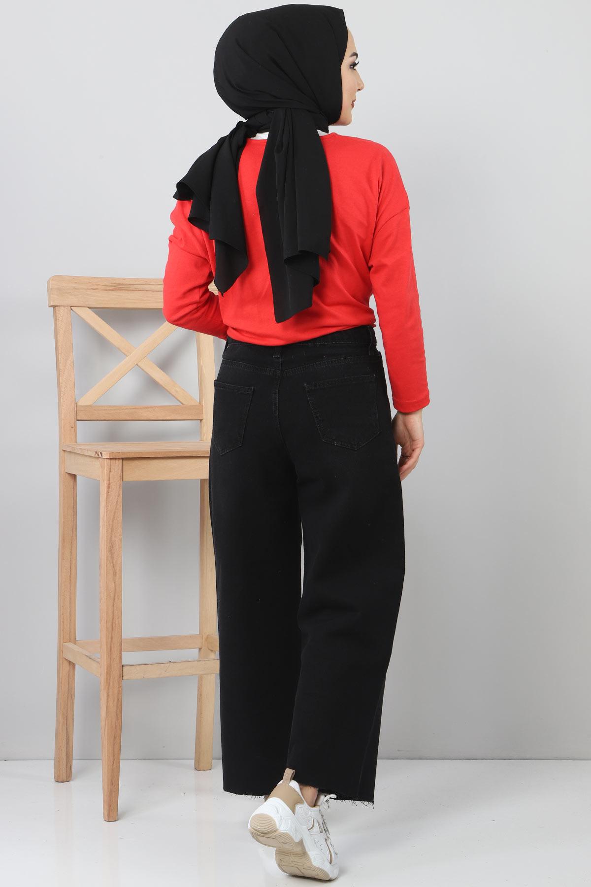 Bilek Boy Bol Paça Kot Pantolon TSD22006 Siyah