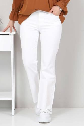 Bilek Boy İspanyol Paça Kot Pantolon TSD22059 Beyaz - Thumbnail