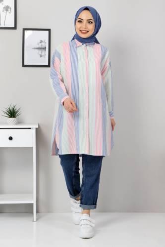 Tesettür Dünyası - Block Color Shirt TSD3314 Blue