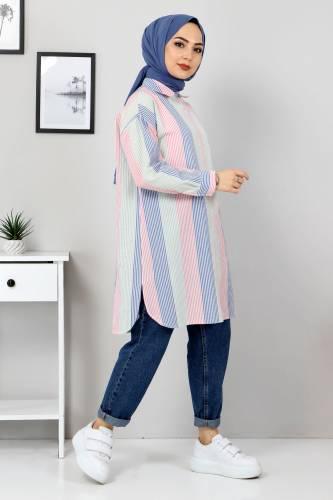 Tesettür Dünyası - Block Color Shirt TSD3314 Blue (1)