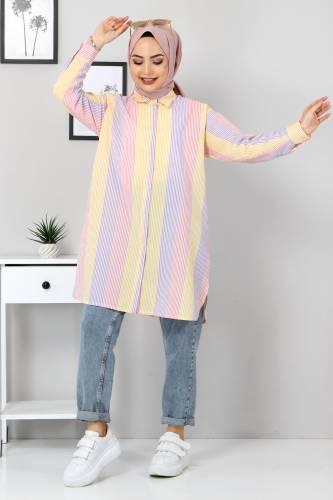 Tesettür Dünyası - Blok Renkli Gömlek TSD3314 Lila