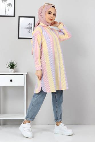 Tesettür Dünyası - Blok Renkli Gömlek TSD3314 Lila (1)