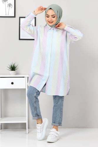 Tesettür Dünyası - Blok Renkli Gömlek TSD3314 Mint