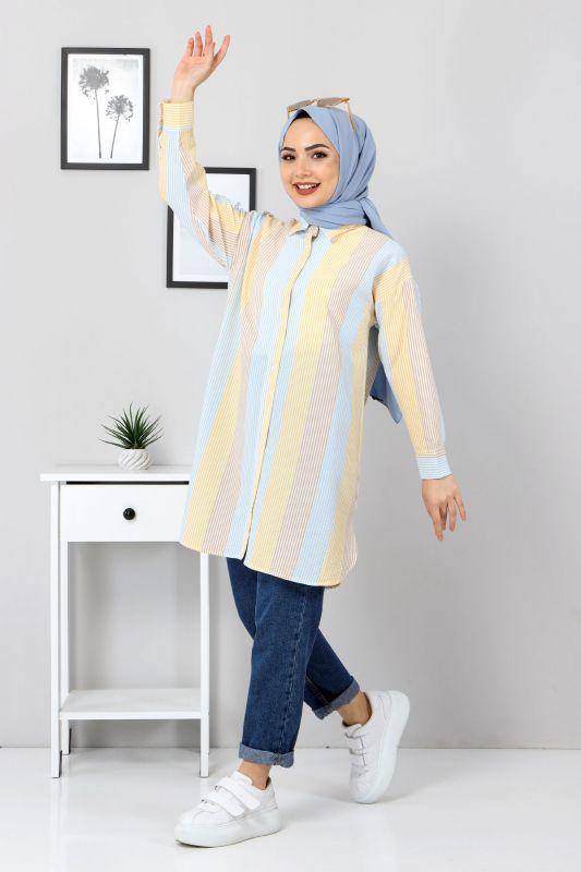 Blok Renkli Gömlek TSD3314 Sarı