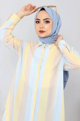 Blok Renkli Gömlek TSD3314 Sarı - Thumbnail