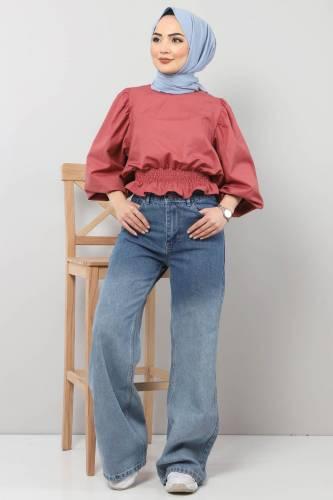 Tesettür Dünyası - Bol Paça Kot Pantolon TSD22002 Açık Mavi