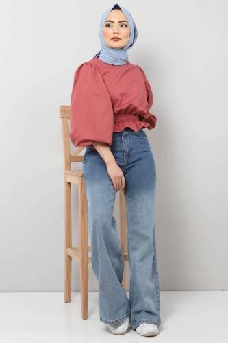 Tesettür Dünyası - Bol Paça Kot Pantolon TSD22002 Açık Mavi (1)