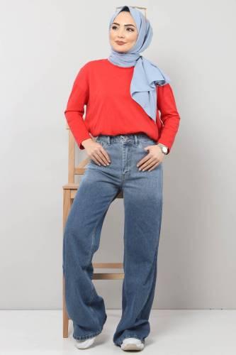 Tesettür Dünyası - Bol Paça Kot Pantolon TSD22002 Koyu Mavi