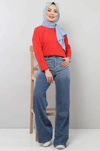 Tesettür Dünyası - Bol Paça Kot Pantolon TSD22002 Koyu Mavi (1)