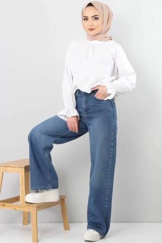 Bol Paça Kot Pantolon TSD22007 Açık Mavi - Thumbnail