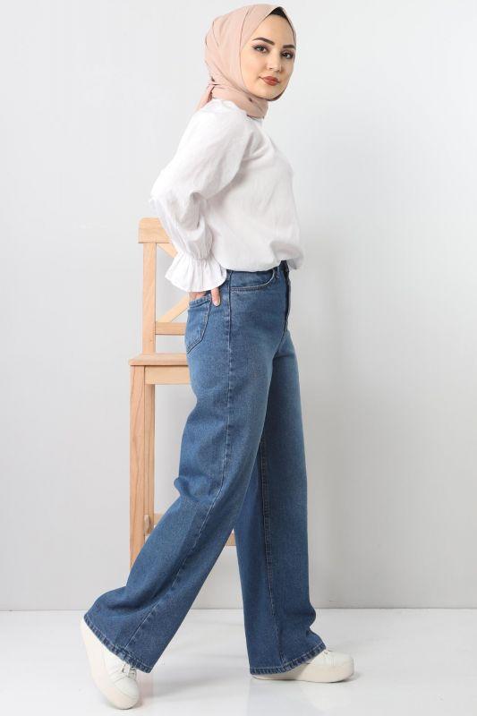 Bol Paça Kot Pantolon TSD22007 Açık Mavi