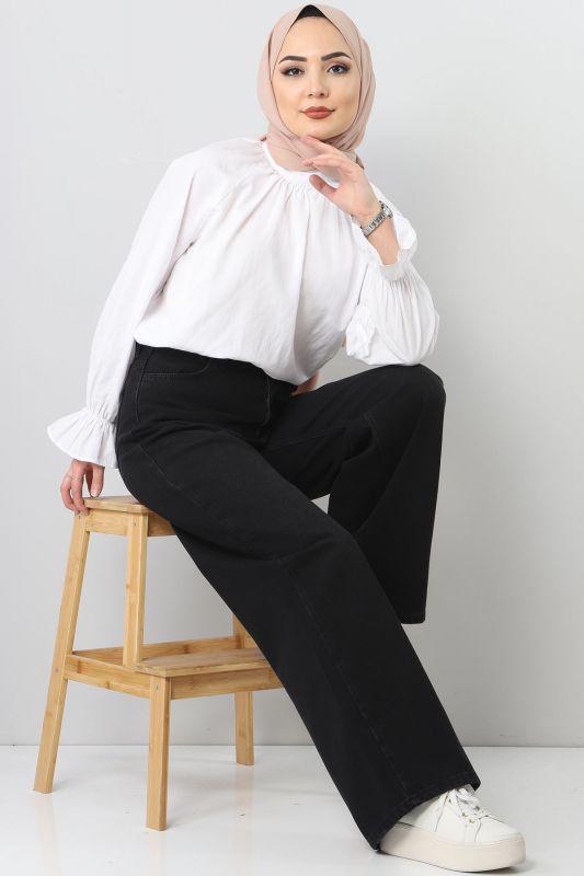 Bol Paça Kot Pantolon TSD22007 Siyah