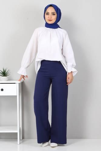 Tesettür Dünyası - Bol Paça Kumaş Pantolon TSD12403 İndigo