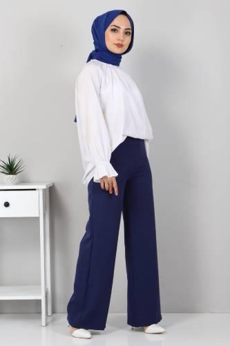 Tesettür Dünyası - Bol Paça Kumaş Pantolon TSD12403 İndigo (1)