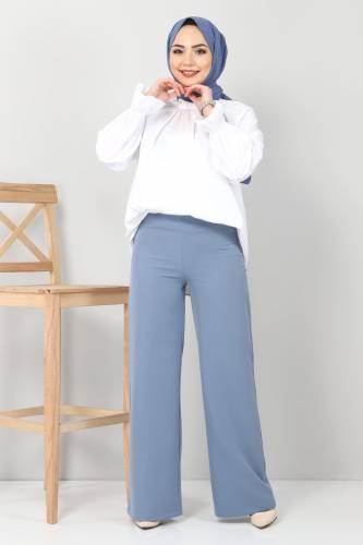 Tesettür Dünyası - Bol Paça Kumaş Pantolon TSD12403 Mavi