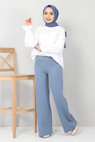 Tesettür Dünyası - Bol Paça Kumaş Pantolon TSD12403 Mavi (1)