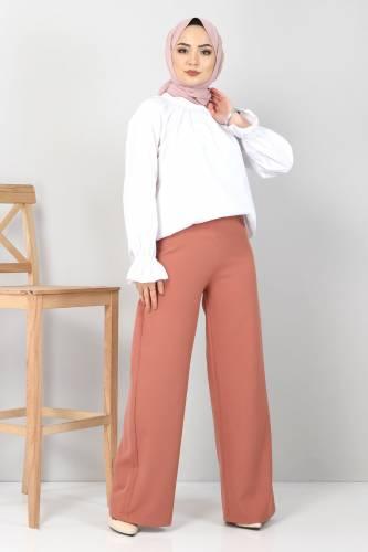 Tesettür Dünyası - Bol Paça Kumaş Pantolon TSD12403 Kiremit