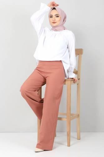 Tesettür Dünyası - Bol Paça Kumaş Pantolon TSD12403 Kiremit (1)