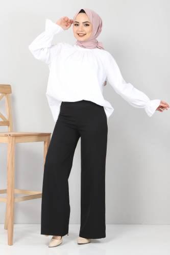 Tesettür Dünyası - Bol Paça Kumaş Pantolon TSD12403 Siyah
