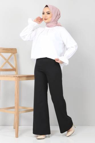Tesettür Dünyası - Bol Paça Kumaş Pantolon TSD12403 Siyah (1)