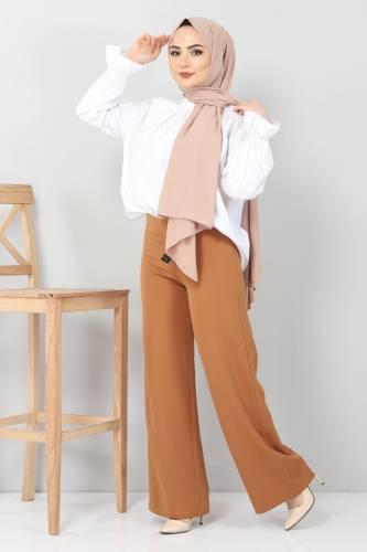 Tesettür Dünyası - Bol Paça Kumaş Pantolon TSD12403 Taba